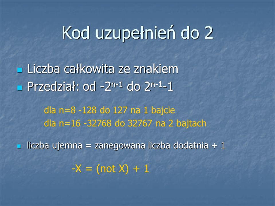 Kod uzupełnień do 2 Liczba całkowita ze znakiem