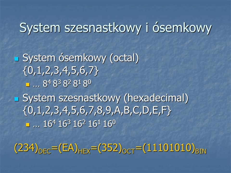 System szesnastkowy i ósemkowy