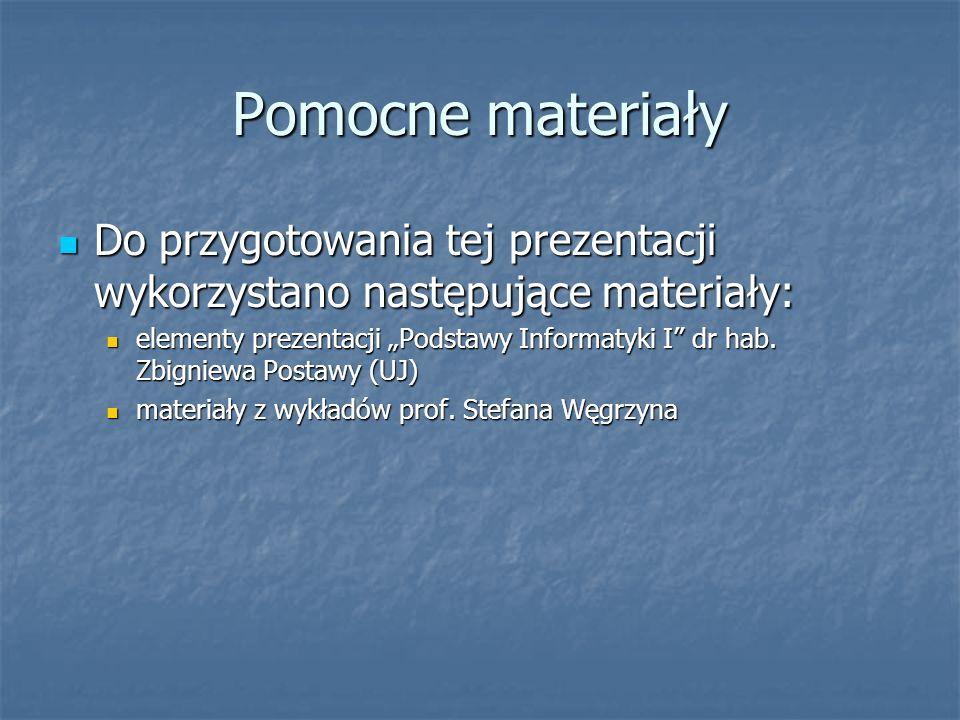 Pomocne materiały Do przygotowania tej prezentacji wykorzystano następujące materiały: