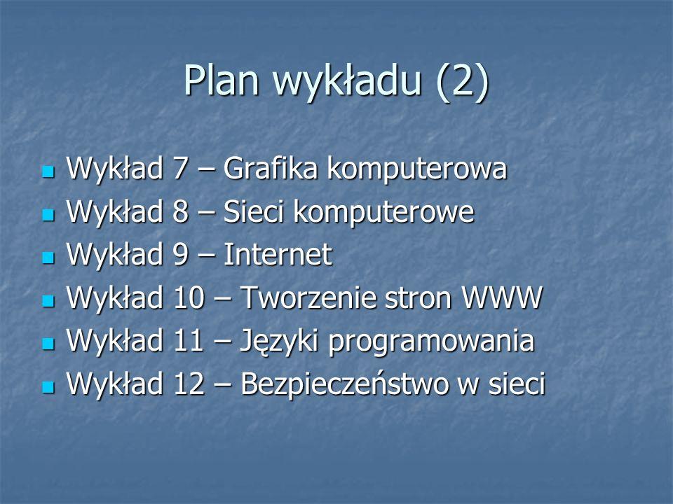 Plan wykładu (2) Wykład 7 – Grafika komputerowa