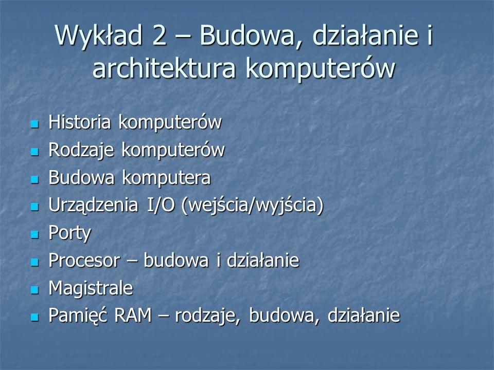 Wykład 2 – Budowa, działanie i architektura komputerów