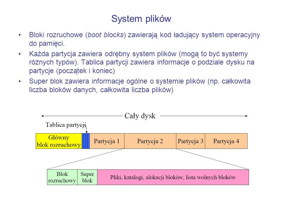 System plików Bloki rozruchowe (boot blocks) zawierają kod ładujący system operacyjny do pamięci.
