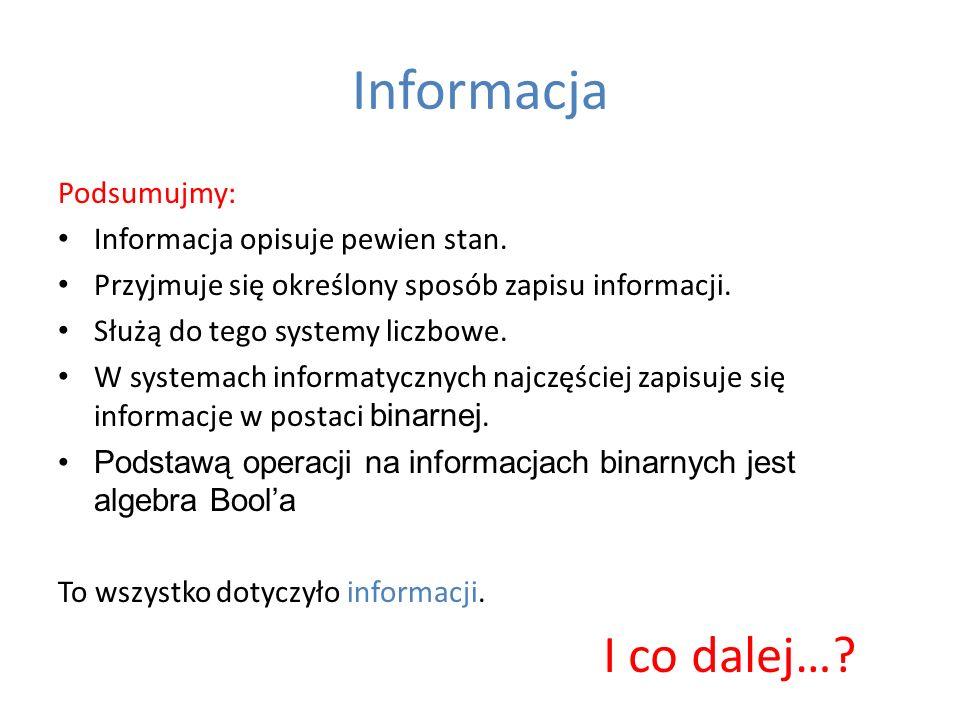 Informacja I co dalej… Podsumujmy: Informacja opisuje pewien stan.