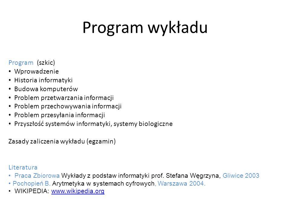 Program wykładu Program (szkic) Wprowadzenie Historia informatyki