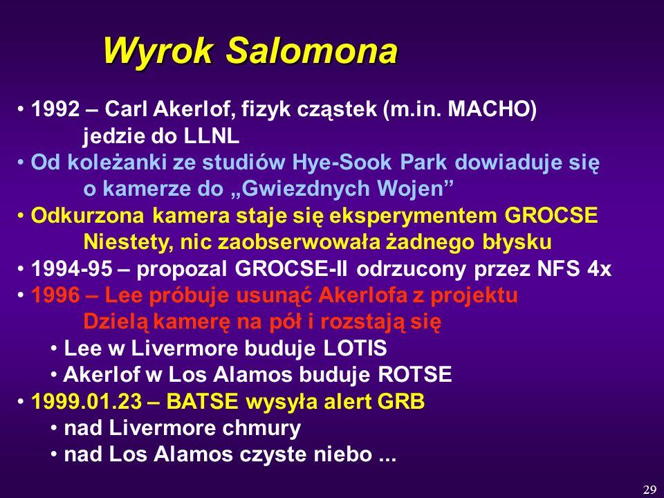 Wyrok Salomona1992 – Carl Akerlof, fizyk cząstek (m.in. MACHO) jedzie do LLNL.