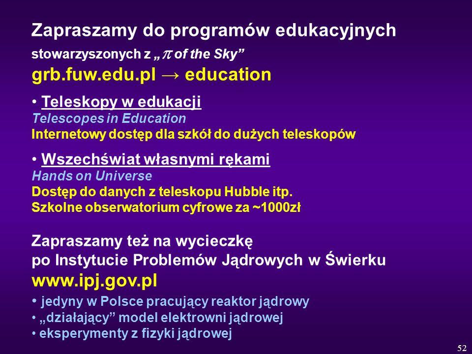 """Zapraszamy do programów edukacyjnych stowarzyszonych z """"p of the Sky grb.fuw.edu.pl → education"""