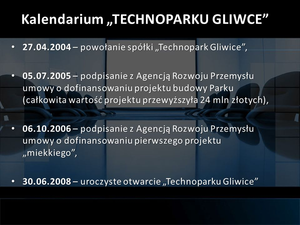 "Kalendarium ""TECHNOPARKU GLIWCE"