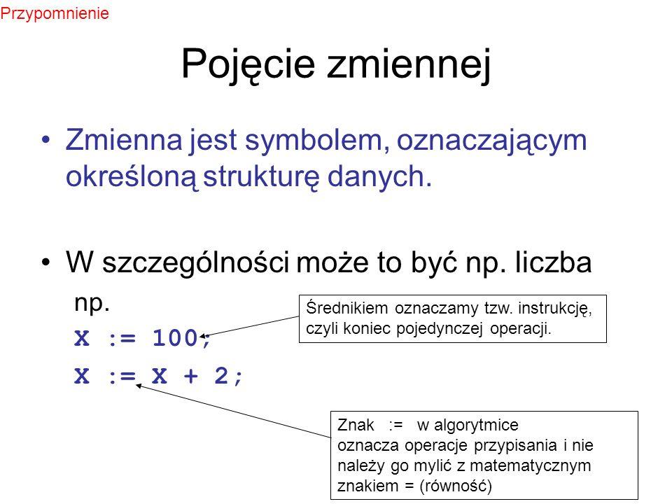 Przypomnienie Pojęcie zmiennej. Zmienna jest symbolem, oznaczającym określoną strukturę danych. W szczególności może to być np. liczba.