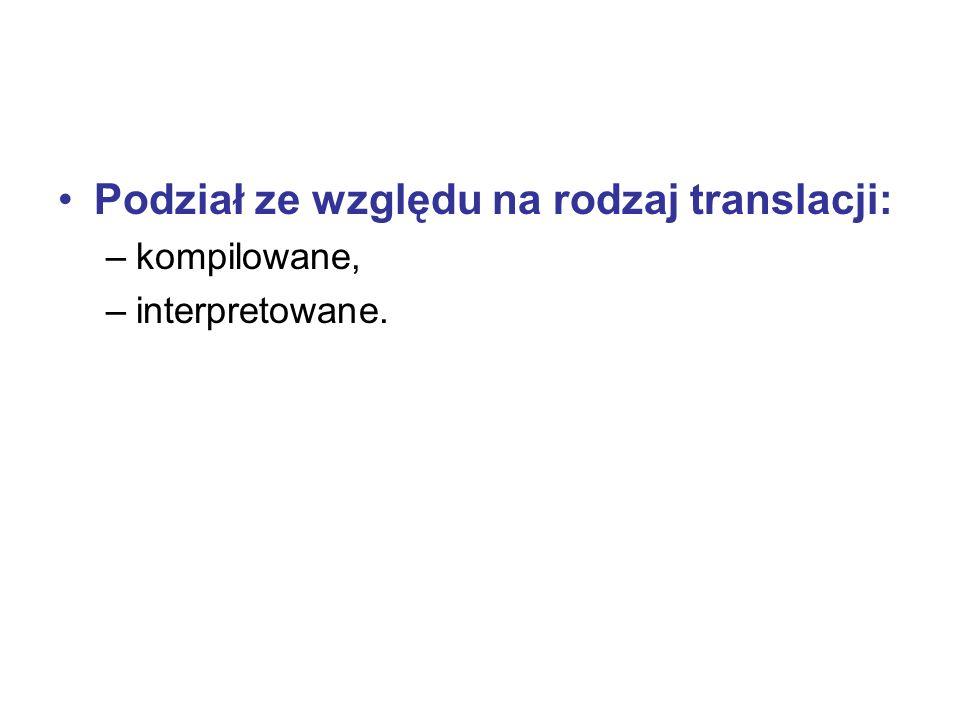 Podział ze względu na rodzaj translacji: