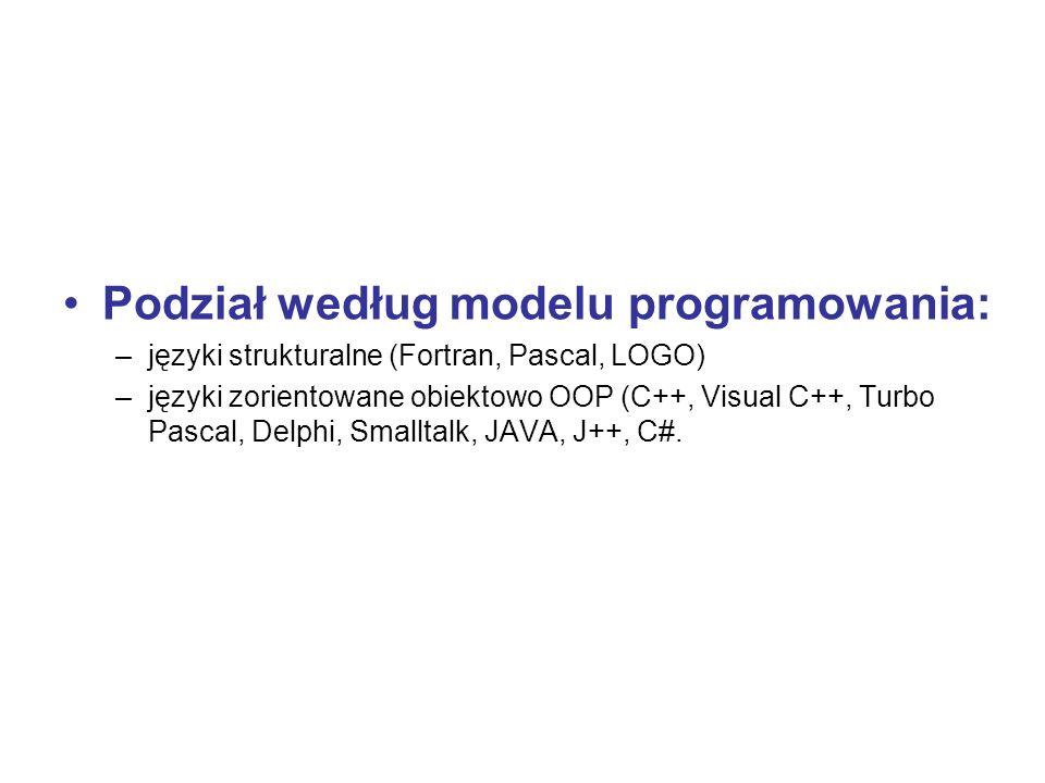 Podział według modelu programowania: