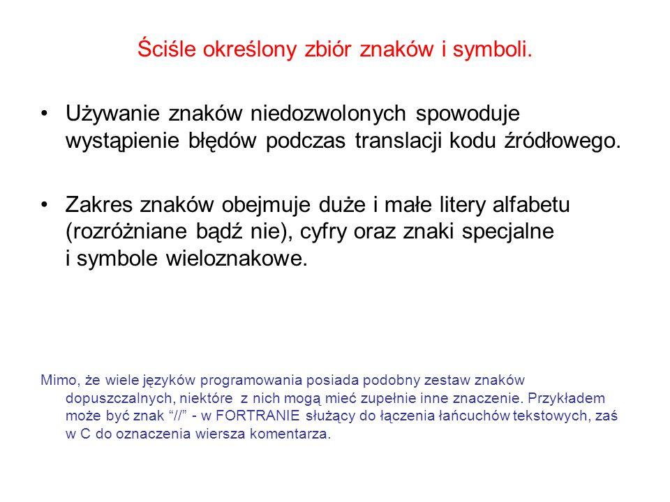 Ściśle określony zbiór znaków i symboli.
