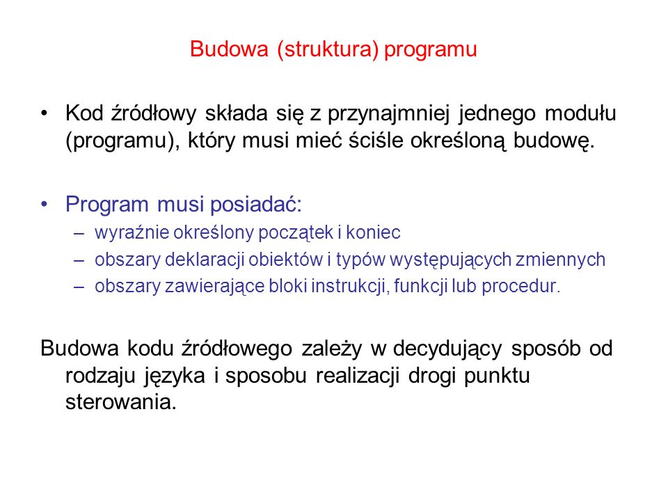 Budowa (struktura) programu