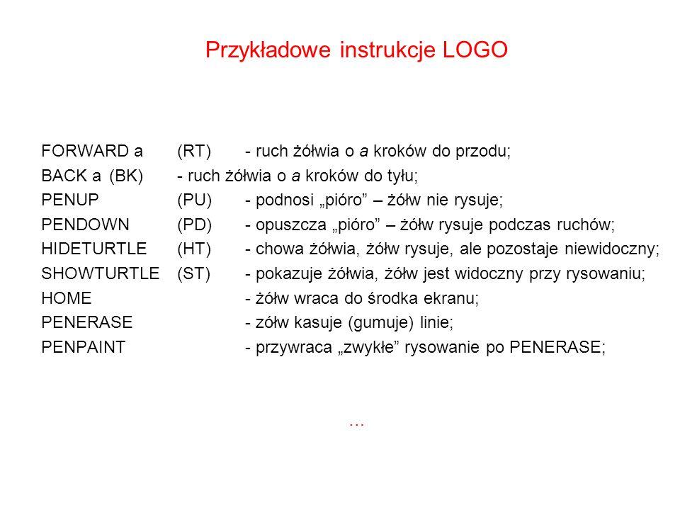 Przykładowe instrukcje LOGO