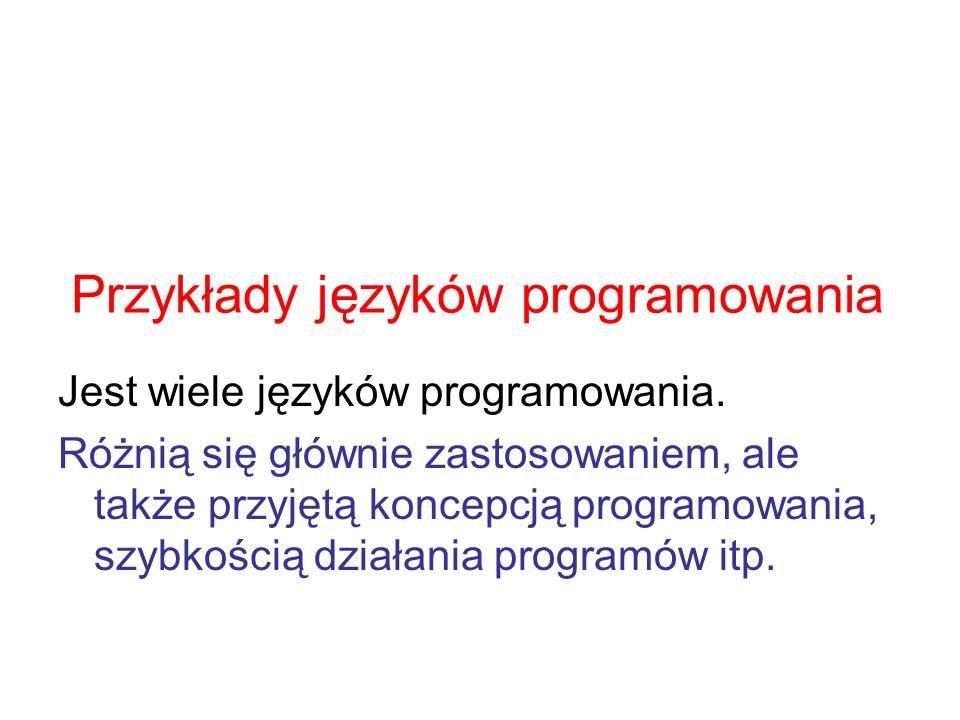 Przykłady języków programowania