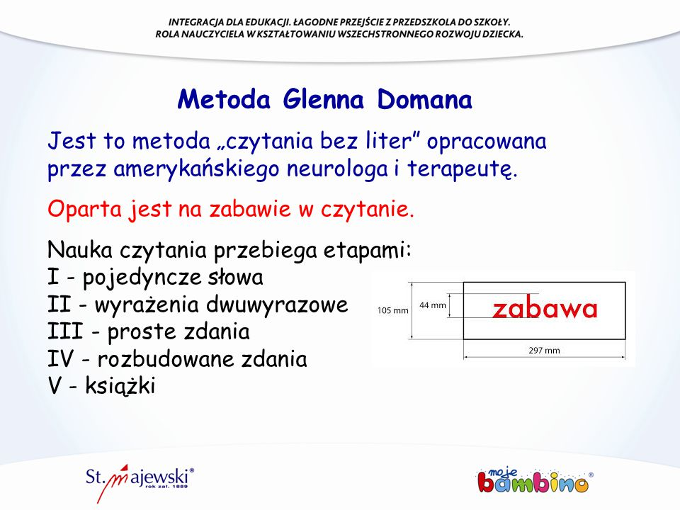"""Metoda Glenna Domana Jest to metoda """"czytania bez liter opracowana"""