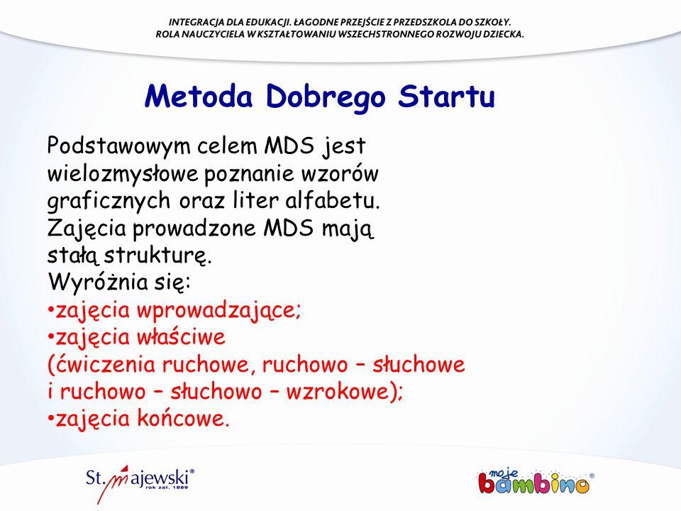 Metoda Dobrego Startu Podstawowym celem MDS jest wielozmysłowe poznanie wzorów graficznych oraz liter alfabetu.