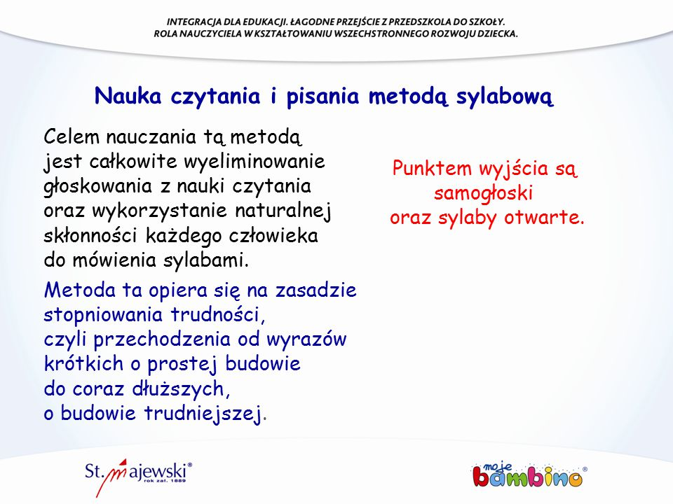 Nauka czytania i pisania metodą sylabową