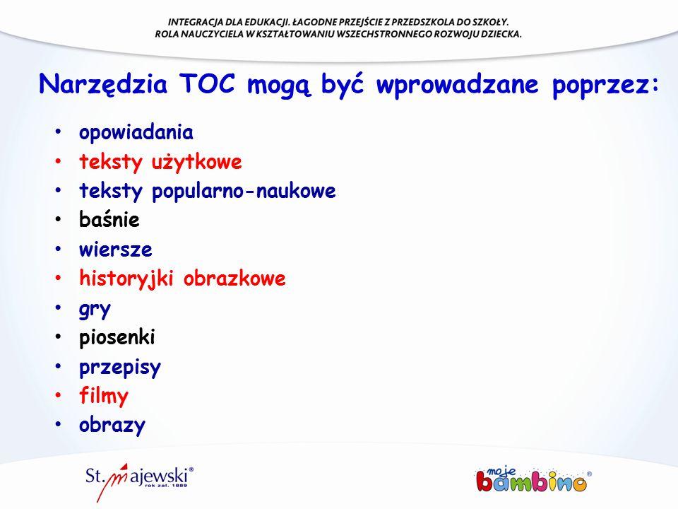 Narzędzia TOC mogą być wprowadzane poprzez: