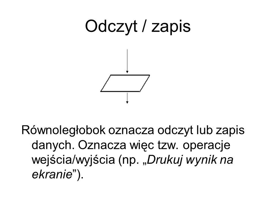 Odczyt / zapis Równoległobok oznacza odczyt lub zapis danych.