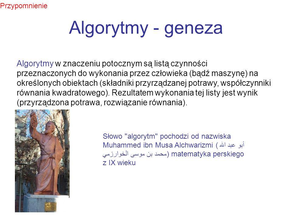 Algorytmy - geneza Algorytmy w znaczeniu potocznym są listą czynności