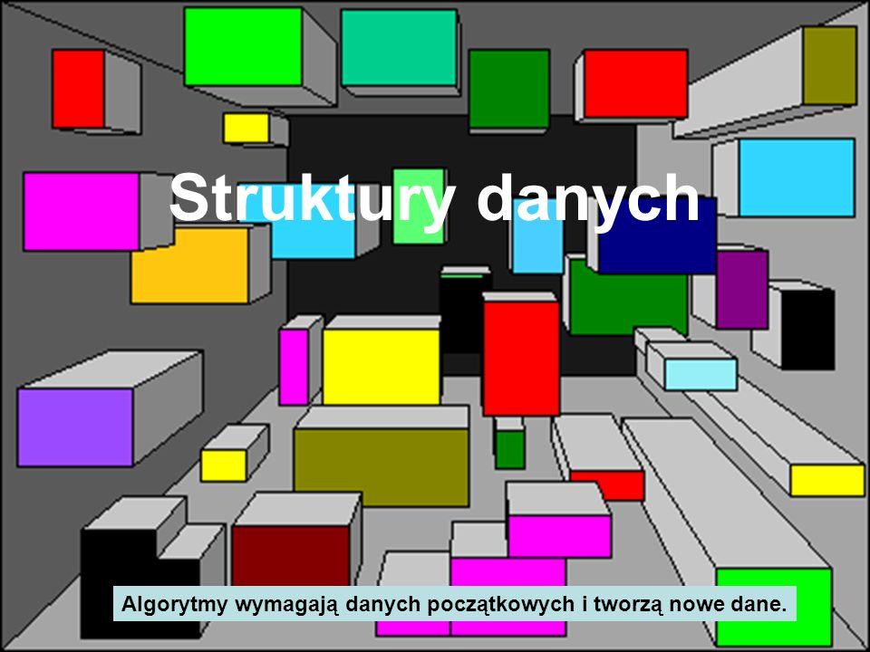 Struktury danych Algorytmy wymagają danych początkowych i tworzą nowe dane.