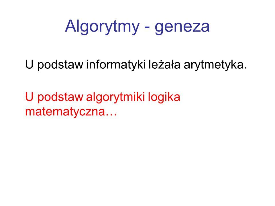 Algorytmy - geneza U podstaw informatyki leżała arytmetyka.