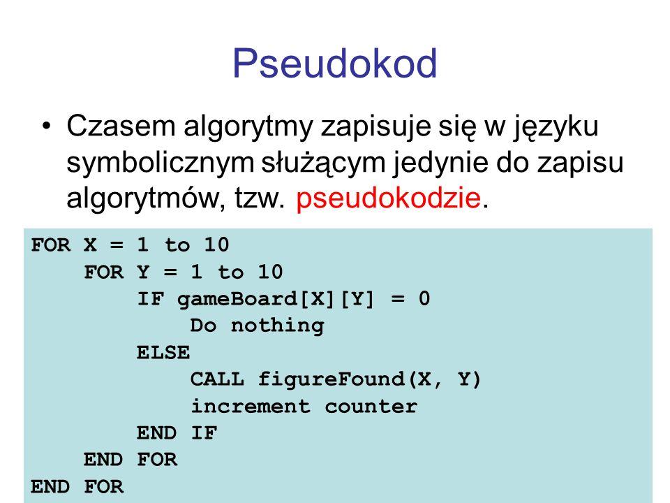 Pseudokod Czasem algorytmy zapisuje się w języku symbolicznym służącym jedynie do zapisu algorytmów, tzw. pseudokodzie.