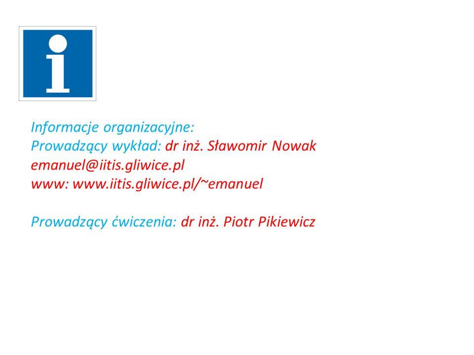 Informacje organizacyjne: