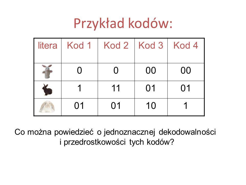 Przykład kodów: litera Kod 1 Kod 2 Kod 3 Kod 4 A 00 B 1 11 01 C 10