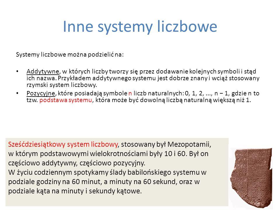 Inne systemy liczbowe Systemy liczbowe można podzielić na: