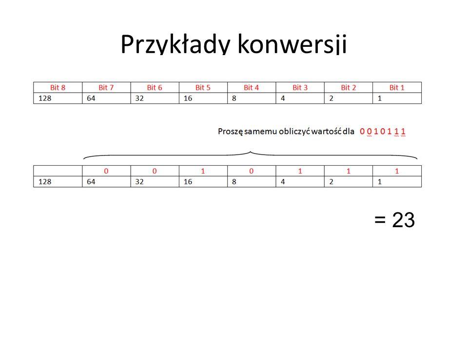 Przykłady konwersji = 23