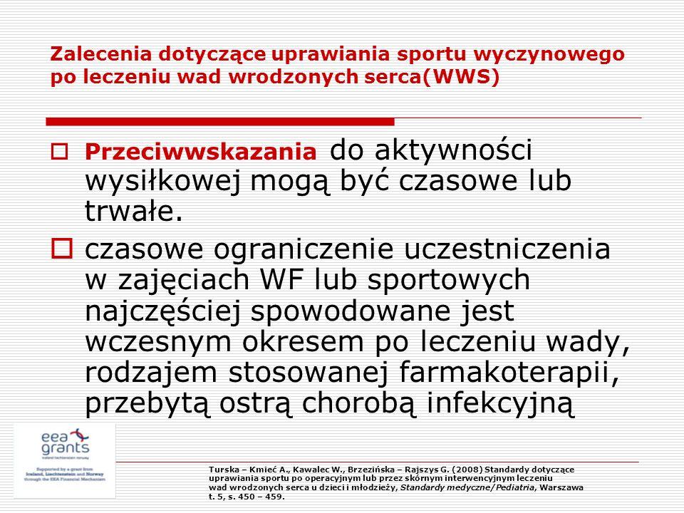 Zalecenia dotyczące uprawiania sportu wyczynowego po leczeniu wad wrodzonych serca(WWS)