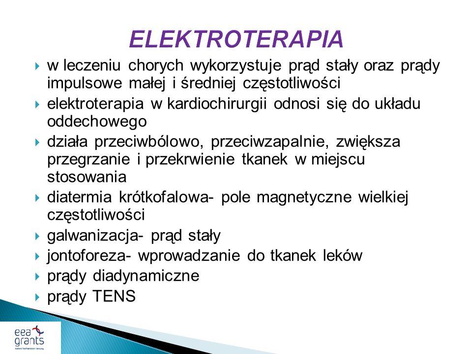 ELEKTROTERAPIA w leczeniu chorych wykorzystuje prąd stały oraz prądy impulsowe małej i średniej częstotliwości.