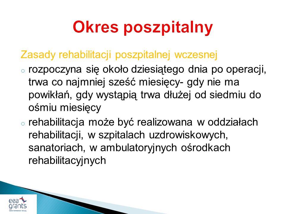 Okres poszpitalny Zasady rehabilitacji poszpitalnej wczesnej