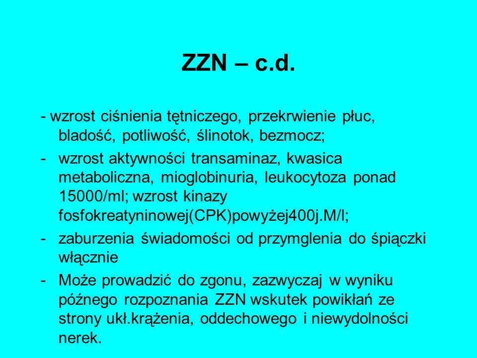 ZZN – c.d. - wzrost ciśnienia tętniczego, przekrwienie płuc, bladość, potliwość, ślinotok, bezmocz;