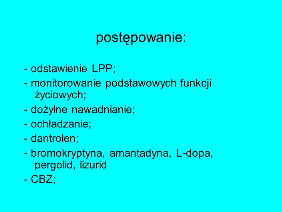 postępowanie: - odstawienie LPP;