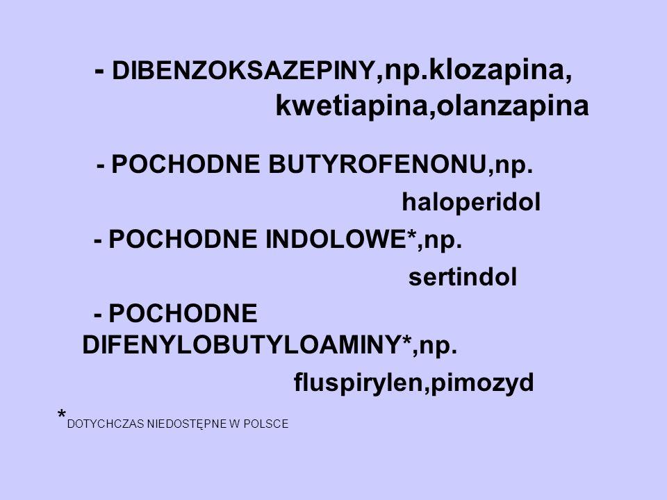 - DIBENZOKSAZEPINY,np.klozapina, kwetiapina,olanzapina