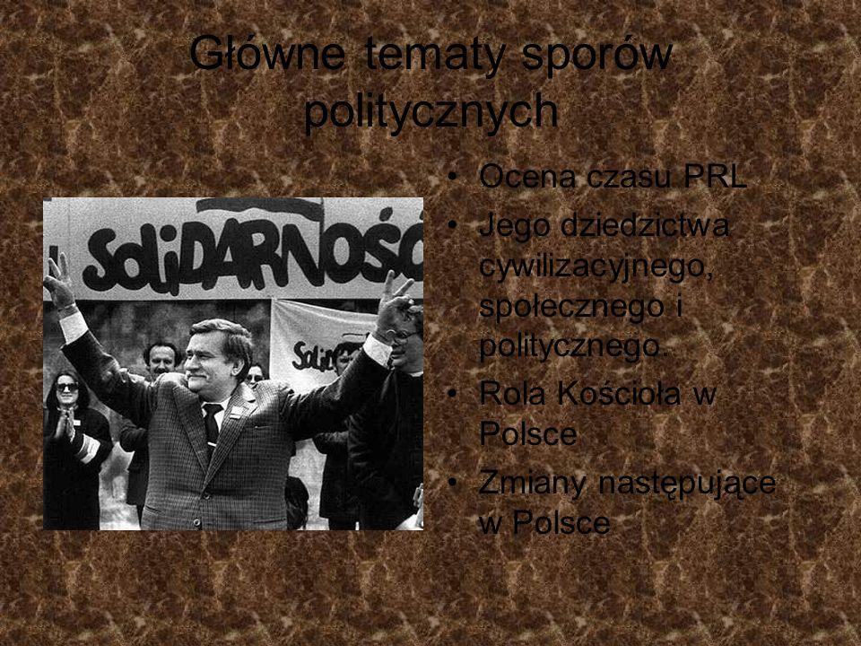 Główne tematy sporów politycznych
