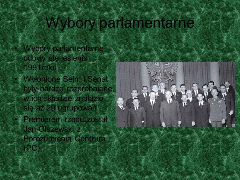 Wybory parlamentarneWybory parlamentarne odbyły się jesienią 1991roku.