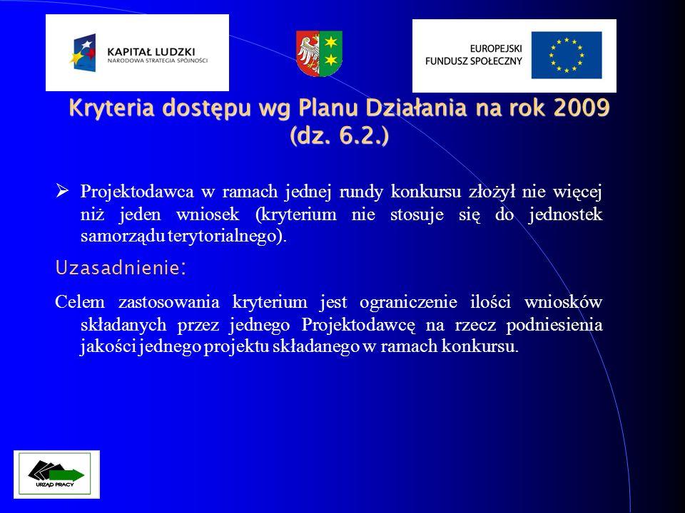 Kryteria dostępu wg Planu Działania na rok 2009 (dz. 6.2.)