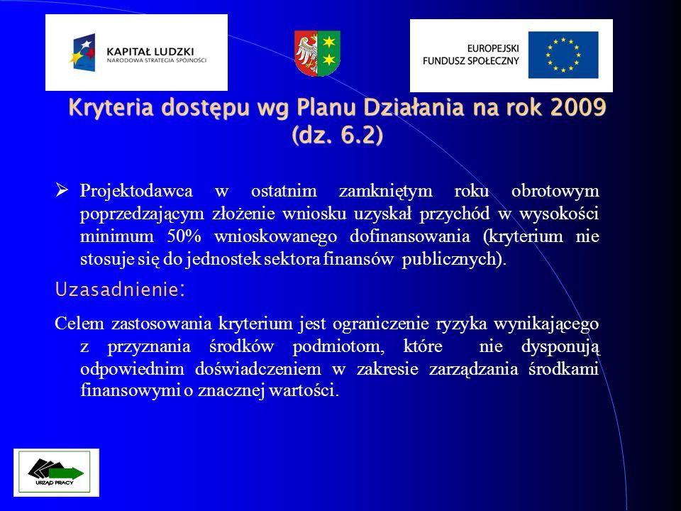 Kryteria dostępu wg Planu Działania na rok 2009 (dz. 6.2)