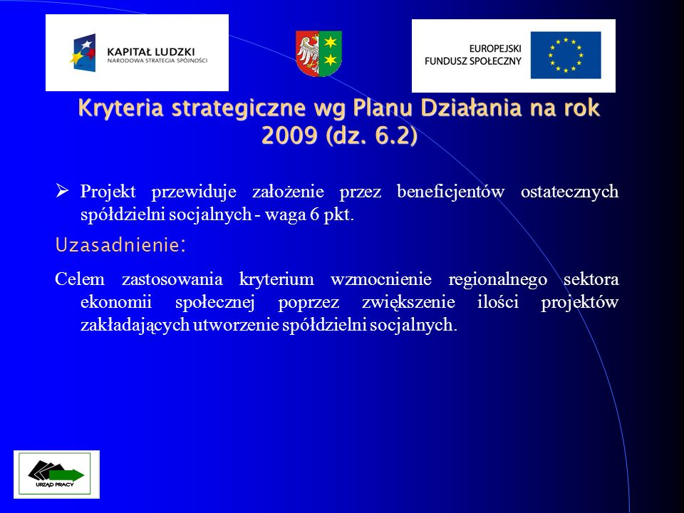 Kryteria strategiczne wg Planu Działania na rok 2009 (dz. 6.2)