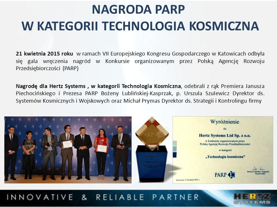 NAGRODA PARP W KATEGORII TECHNOLOGIA KOSMICZNA