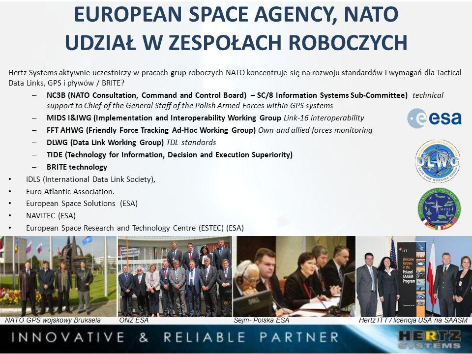 EUROPEAN SPACE AGENCY, NATO UDZIAŁ W ZESPOŁACH ROBOCZYCH