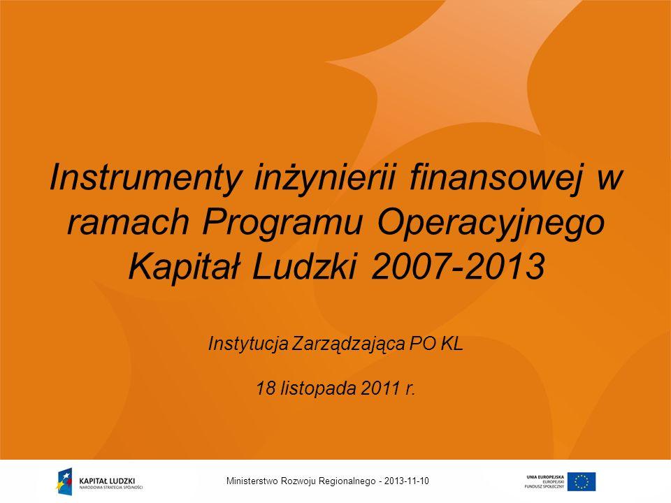 Instrumenty inżynierii finansowej w ramach Programu Operacyjnego Kapitał Ludzki 2007-2013 Instytucja Zarządzająca PO KL 18 listopada 2011 r.