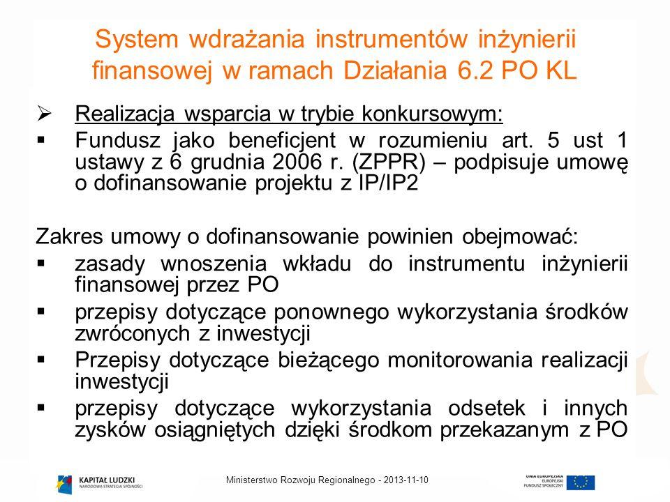 System wdrażania instrumentów inżynierii finansowej w ramach Działania 6.2 PO KL