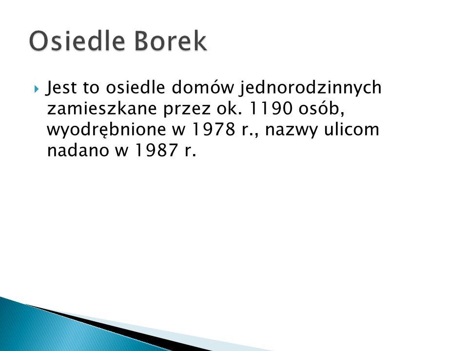 Osiedle Borek Jest to osiedle domów jednorodzinnych zamieszkane przez ok.