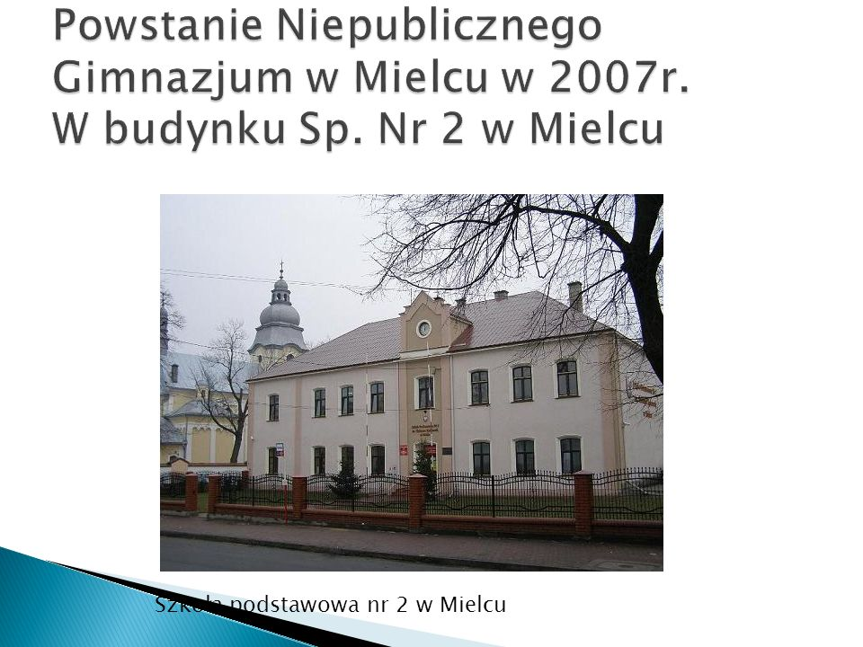 Powstanie Niepublicznego Gimnazjum w Mielcu w 2007r. W budynku Sp