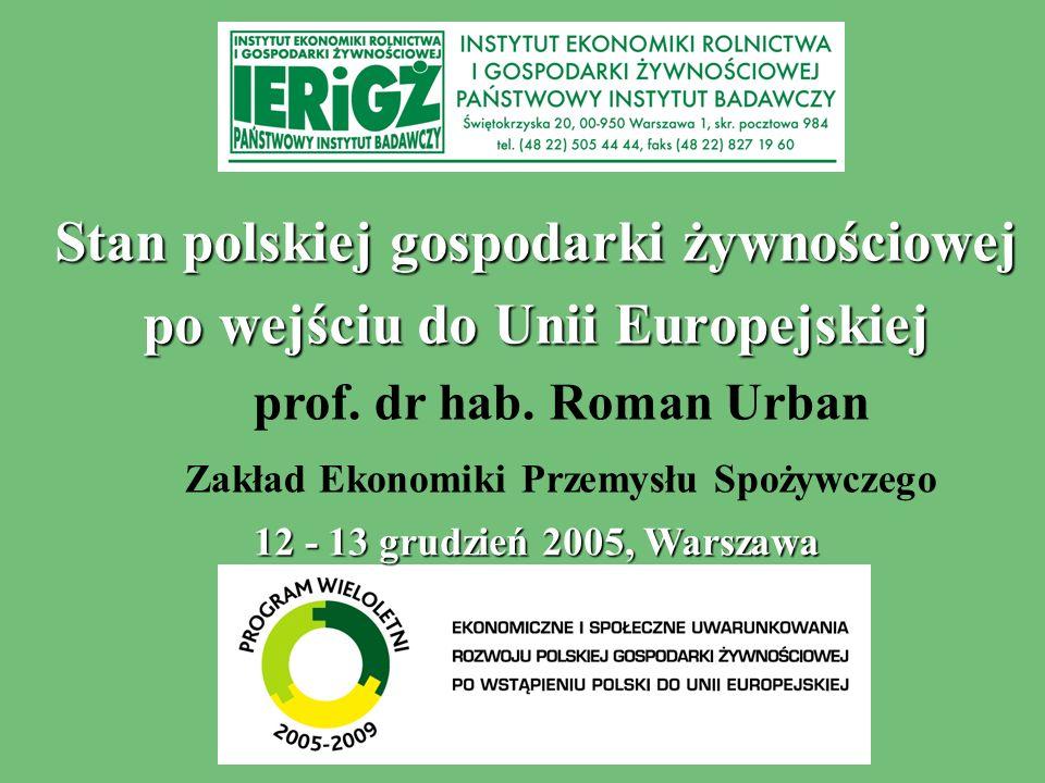 Stan polskiej gospodarki żywnościowej po wejściu do Unii Europejskiej