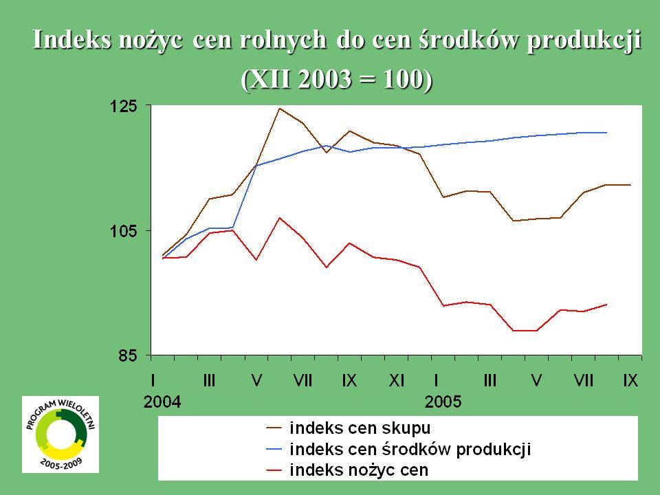 Indeks nożyc cen rolnych do cen środków produkcji (XII 2003 = 100)